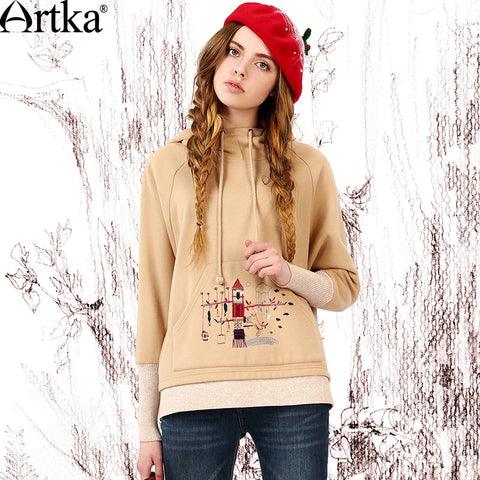 Artka Women's Autumn New Solid Color Embroidery Hoodie Casual Long Sleeve All-match Pullover  VA15153Q