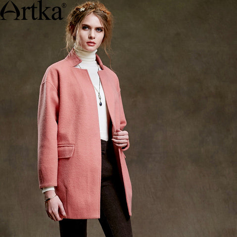 Artka Women's Autumn New Solid Color All-match Woolen Coat Fashion Stand Collar Long Sleeve Single Button Coat WA10256Q