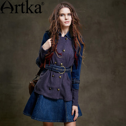 Artka Women's Autumn New Denim Patchwork Coat Fashion Turn-down Collar Long Sleeve Double Breasted Coat With Sashes SA15053D
