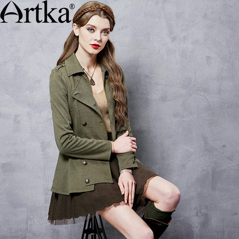 Artka Women's Autumn New Solid Color Slim Fit Short Coat Fashion Turn-down Collar Long Sleeve Double Breasted Coat ZA10165Q