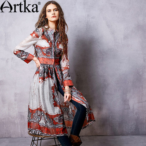Artka Women's Autumn New Boho Style Printed Slim Fit Trench Stand Collar Long Sleeve Cinched Waist Wide Hem Coat FA10066C