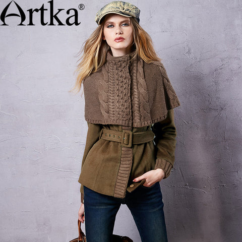 Artka Women's Autumn New Kintted Patchwork Woolen Coat Vintage Stand Collar Long Sleeve Cinched Waist Coat With Sashes WA15351Q