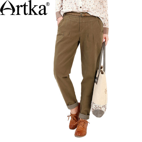 Artka Women's Autumn New Casual Solid Color Patchwork Cotton Pants Vintage Mid-waist Full Length All-match Harem Pants KA10762Q