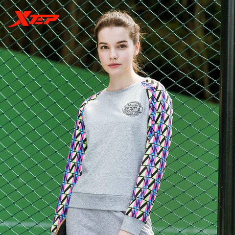 XTEP Brand Women Running Sports Coat Trainning Exercise Sweaters Long Sleeves 2016 Autumn Winter Cycling Sportwears 884328059032