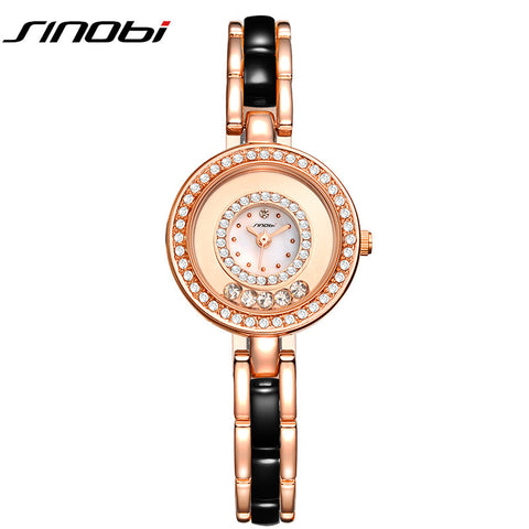 2016 Woman's Geneva Watches For Sinobi Luxury Brand Ladies Gold Quartz Wristwatches Fashion Diamond Bracelet Watches Clock Gift