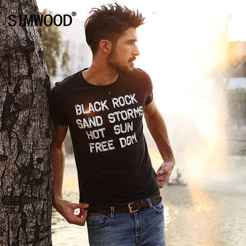 2016 New Arrival Simwood Brand Men T shirt Slim Fit Short-sleeved O-neck Print Letter T shirt Plus  Size Free Shipping TD1077