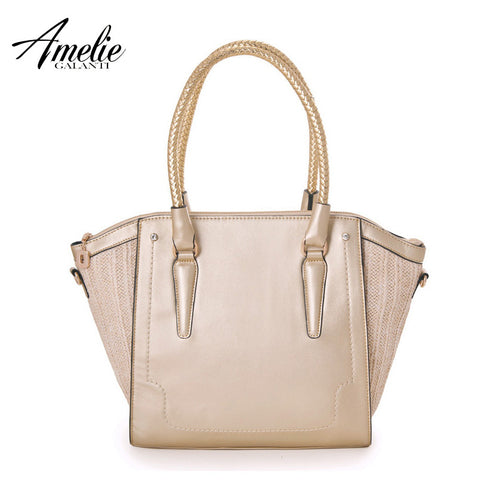 AMELIE GALANTI 2016 new fashion women handbag solid lady Trapeze portable bag high quality patchwork top handle bag free shippin