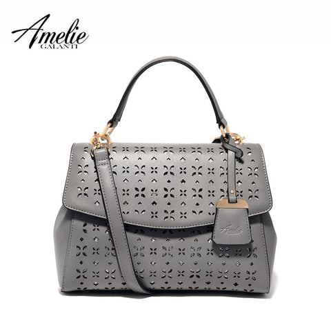 AMELIE GALANTI brand women bag trapeze hollow out handbag fashion pu leather totes cover hard versatile black d pink grey 2016