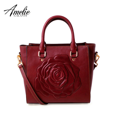 AMELIE GALANTI 2016 new Fashion   leather bag  embossed portable bag Flower pattern square package  women bag   free shipping