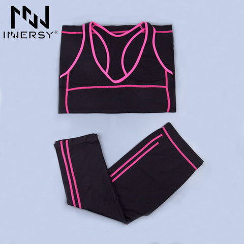 Innersy Women Sport Suit Sport Shirts Vest + Sports Pants Yoga Set Running Fitness Training Clothing for Women Jzh32