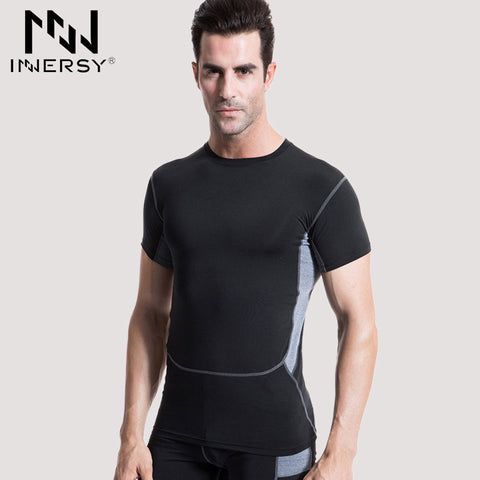 Innersy Mens Training Running T Shirts Short Sleeve Tops Training Tracksuit Workout Gym Clothing for Man Fitness Shirts Jzh06