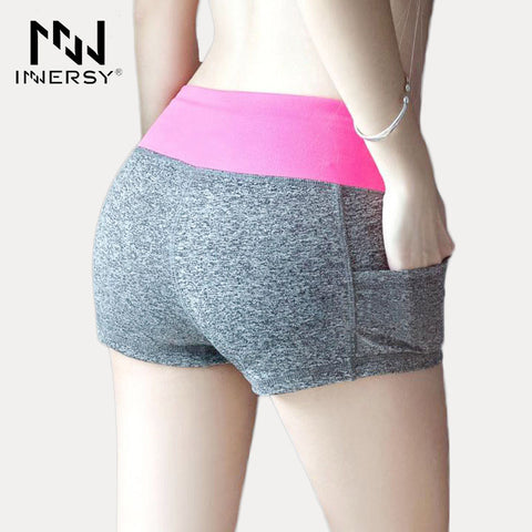 Innersy New Women Sport Running Shorts Fitness Gym Short Pants Workout Elastic Sports Female  calzas deportivas mujer Jzh75