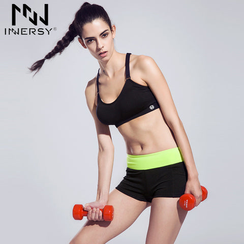 Innersy 2016 new women quick-drying sports running shorts wicking breathable patchwork shorts Yoga fitness shorts Jzh132
