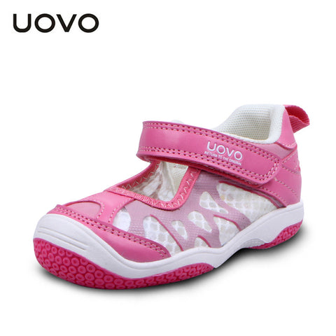 UOVO breathable embossed summer toddler girls sandals 2015 soft baby girl shoes closed toe brand sandals flat sandalet 3 colors