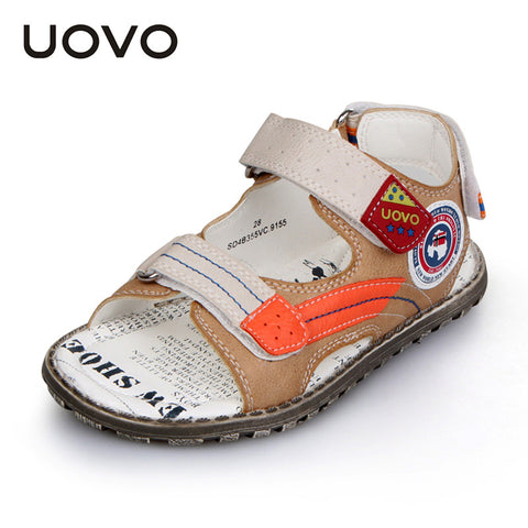 UOVO 2016 Boys Leather Sandals for Summer Children Antiskid Velco Sandals Top Quality Kids Plain Shoes for little boys 2 colors