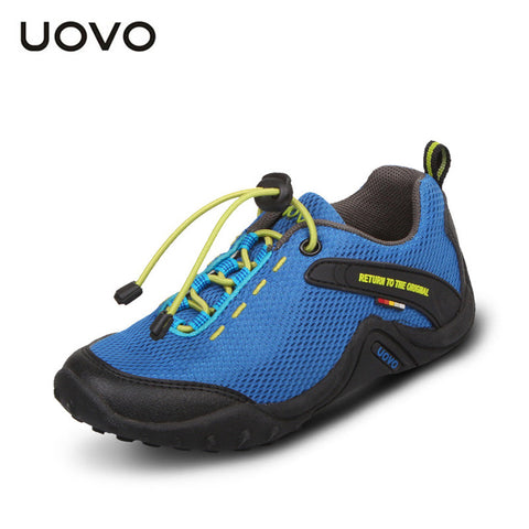 UOVO 2016 breathable aqua children sport shoes unisex textile outdoor shoes for child elastic band slip-resistant casual shoes