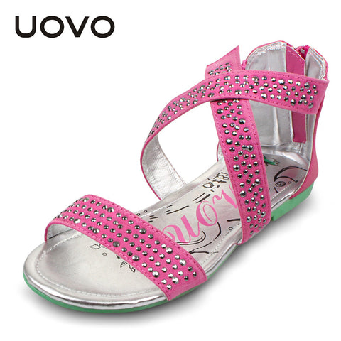 UOVO cross-strap children shoes girls sandals rhinestone sandales kids summer girls shoes kid sandals child sandals 2 colors