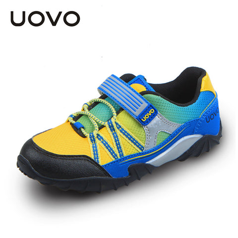UOVO 2015 spring and autumn kids shoes elastic hook and loop children sport shoes mesh breathable boys sport shoes