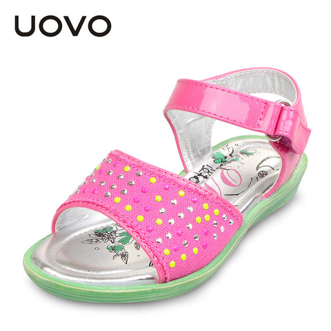 UOVO rhinestone children girl sandals toddler girls sandals 2015 summer shoes flat sandals for 2-10 years old girl fuxia color