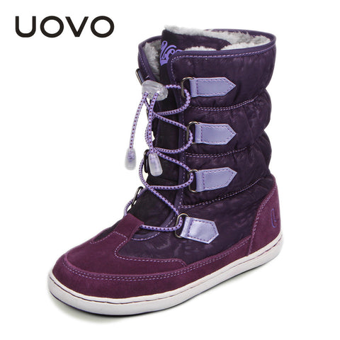 UOVO mid-calf bungee lacing snow boots waterproof girls boots big girls sport shoes  fur lining kids boots for toddler girls