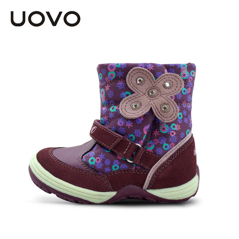UOVO floral autumn winter little girl's boots waterproof kids boot butterfly children shoes brand girls shoes 3 -10 years old