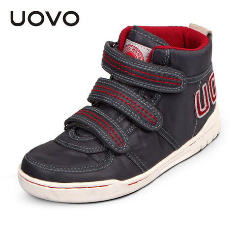 2015 UOVO oxford cloth mid-cut children shoes boys shoes map pattern flat outsole girls shoes unisex sneakers 3 color
