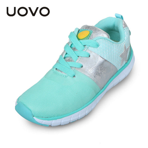 UOVO Kids Mesh Lightweight Casual Fashion Sport Girls Shoes Green Breathable Little Big Girls Sneakers Spring Shoes for Kids