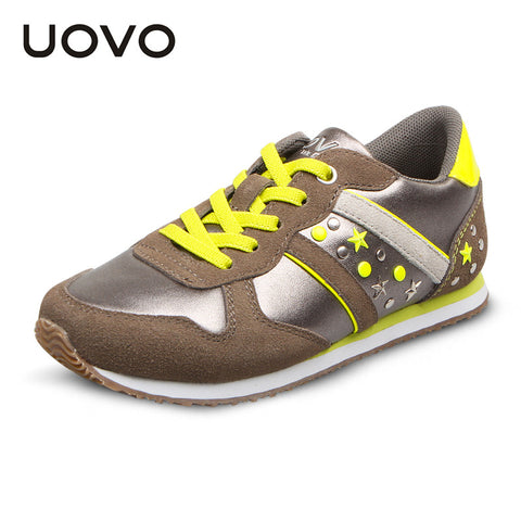 UOVO 2015 Autumn leather sport kids shoes for boys and girls children's running fashion sneakers brand shoes high quality