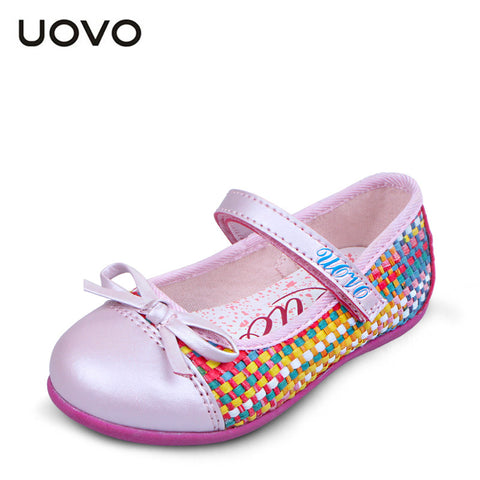 2015 newest spring and summer kids girl shoes weaving princess shoes UOVO brand dress shoes pink and blue color Eur size 25-33