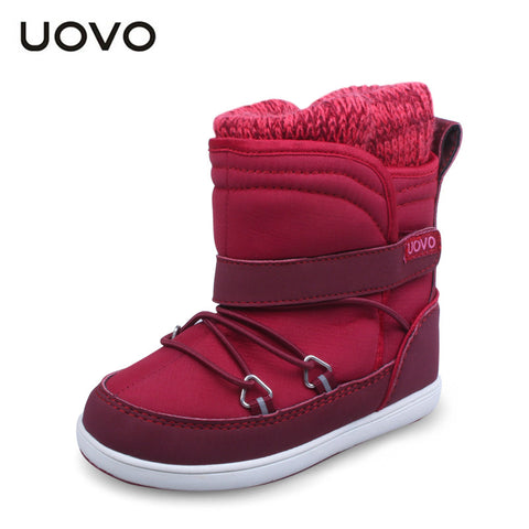 UOVO brand designer toddler girl boots water-proof winter little kids boots casual sport shoes for little girls red shoes
