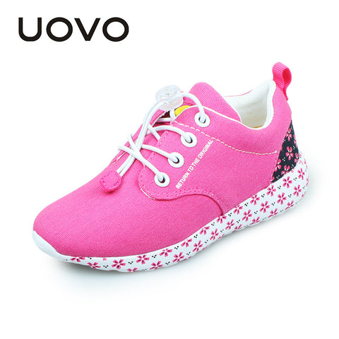 UOVO 2016 Fashion Casual Sport Light-weight Canvas Girls Shoes Spring Autumn Kids shoes for Girls Rose Red