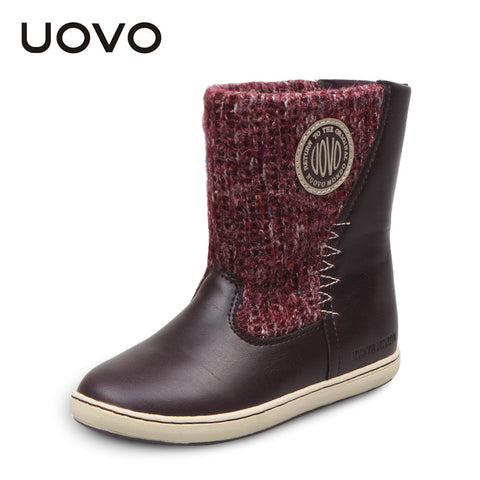 UOVO woolen fabrics girls boots mid calf children shoes booties winter fashion snow boots for kids girls of 4-15 years old