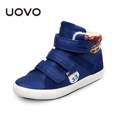 UOVO brand winter boys 2016 shoes fashion fur lining big boys shoes leather shoes for children boys flat rubber kids sneakers