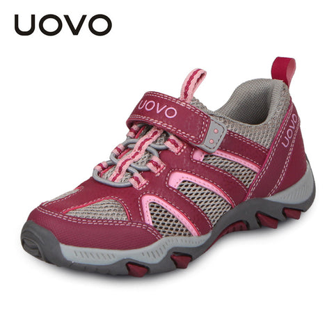 UOVO Light Outdoor Sport Kids Shoes Rubber Breathable Girls Shoes Hook-and-Loop Children Sneakers for Little Girls