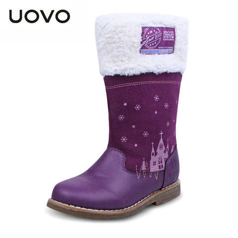 UOVO  Mid-calf Cow suede Girl's Flat Boot Kids Fashion Equestrian Boots winter children shoes fur collar big girls boots