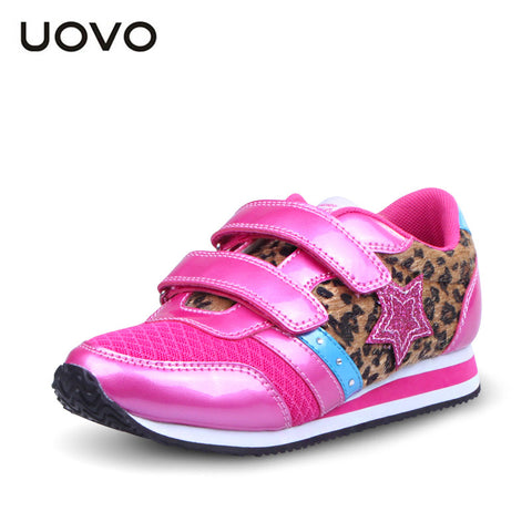 UOVO 2016 Newest spring and autumn Leopard pink children girls shoes big kids fashion shoes brand girls sneakers high quality
