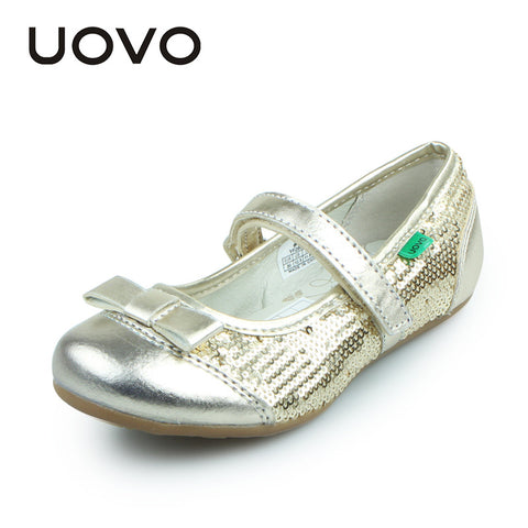 UOVO Newest Girls Dress Shoes Kids Party Shoes Golden Glitter Children Little Big Girls Shoes Flat Shoes