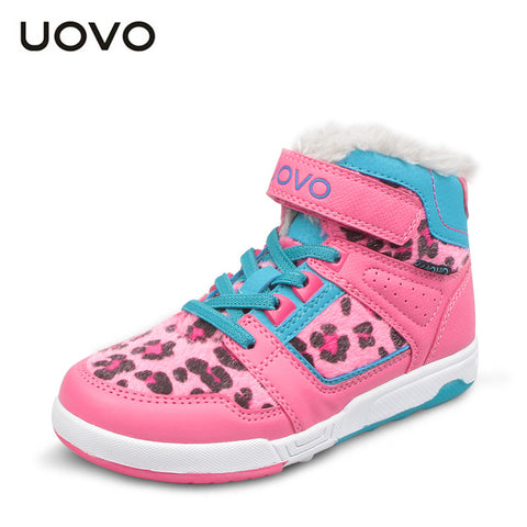 UOVO 2015 mid-cut leopard pattern girls winter shoes fuxia girls sport shoes warm fashion brand shoes for girls size 31-37