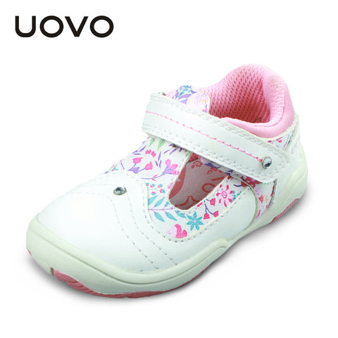 UOVO 2016 white children baby girls shoes toddler girls shoes flower cute little kids shoes