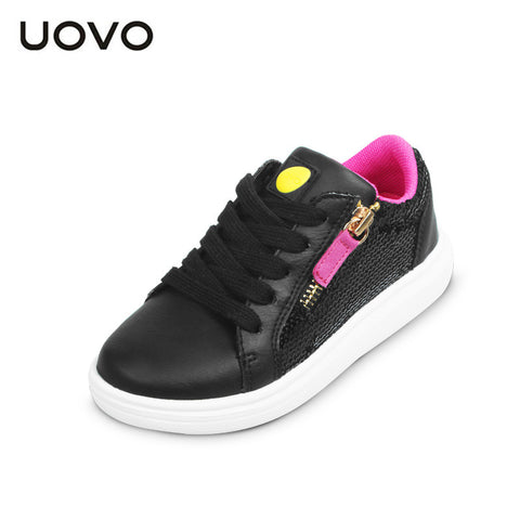 UOVO 2016 Kids Shoes Flat Girls Casual Shoes Light Sole Children Sneakers Lace up Girls shoes Glitter footwears