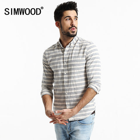 2016 New SIMWOOD Brand Men Clothing Shirt Long sleeved Striped Slim Fit Casual Shirts Free Shipping CS1520