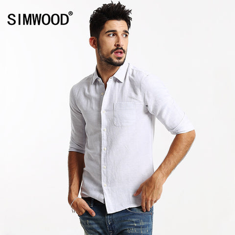 2016 New Arrival SIMWOOD Brand Men Clothing Shirt Three Quarter Solid Casual Slim Fit Shirts Plus Size Free Shipping CS178