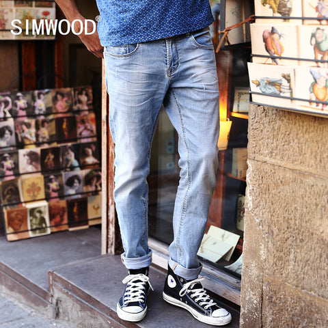 Jeans Men 2016 New Arrival SIMWOOD Brand Clothing Blue Slim Fit Casual Denim Pants High Quality Free Shipping SJ6013