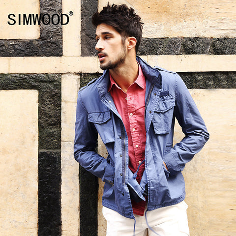 2016 New Arrival SIMWOODBrand Men Clothing Jackets Casual Slim Fit Zipper Pocket Coat Free Shipping WJ1641