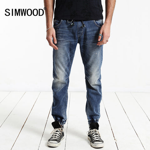 Jeans Men 2016 New Arrival SIMWOOD Brand Clothing Blue Slim Fit Elastic Waist Casual Denim Pants Plus Size Free Shipping SJ6017