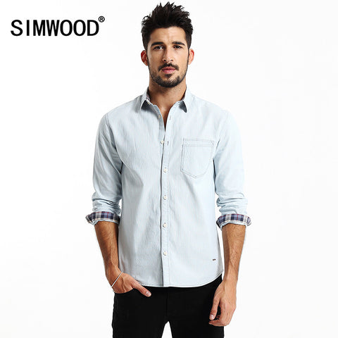 2016 New Arrival Simwood Men Clothing Shirt Long sleeved Striped Casual Slim Fit Shirts Plus Size Free Shipping CS1530