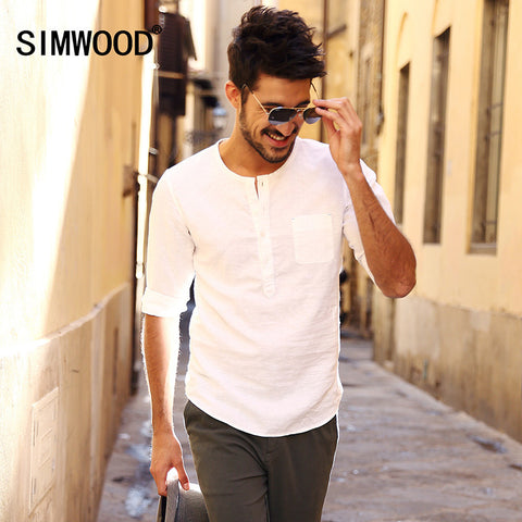 2016 New Arrival Simwood Men Shirt Three Quarter Casual Solid Slim Fit Camisa Masculina Plus Size Free Shipping CS1511