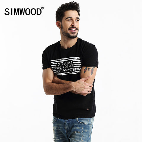 2016 New Arrival SIMWOOD Fashion T shirt Summer Short sleeved Casual Print Letter O-neck Men T-shirts Plus Size Free Shipping