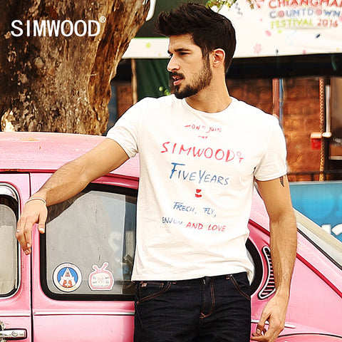 2016 New Arrival Simwood Brand Clothing Men T-shirt Short-sleeved O-neck Casual Slim Fit Tops Tee Plus Size Free Shipping TD1079