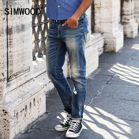 2016 New Arrival SIMWOOD Brand Men Jeans Slim Fit Casual Cotton Zipper Fly Denim Pants Plus Size Free Shipping SJ6004
